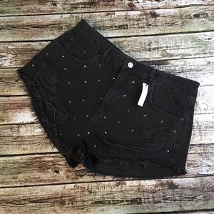 Topshop Moto Mom Studded Distressed Shorts